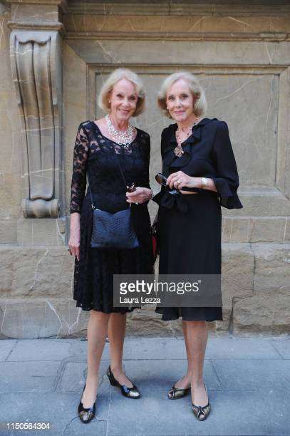 Kessler twins artists Alice and Ellen poses for a photo in front of the Foundation Fondazione Museo Franco Zeffirelli after attending the funeral of...