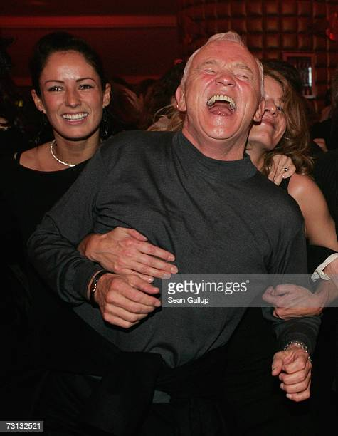 Kessy, girlfriend of singer Haddaway, and fashion designer Werner Baldessarini dance at the Kitz Race Party after the Hahnenkamm slalom races January...