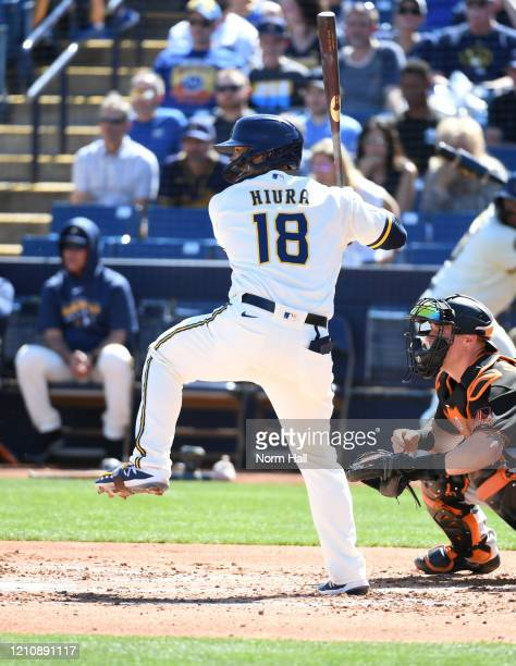 Keston Hiura of the Milwaukee Brewers gets ready in the batters box against the San Francisco Giants during a spring training game at American Family...
