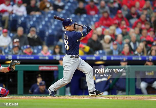 Keston Hiura of the Milwaukee Brewers making his major league debut hits a single in his first major league at bat in the second inning during a game...