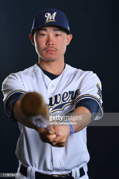 Keston Hiura of the Milwaukee Brewers poses during the Brewers Photo Day on February 22 2019 in Maryvale Arizona