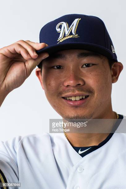 Keston Hiura of the Milwaukee Brewers poses for a portrait during Photo Day at the Milwaukee Brewers Spring Training Complex on February 22 2018 in...