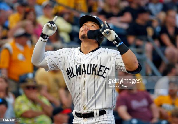 Keston Hiura of the Milwaukee Brewers reacts after hitting the game tying home run in the ninth inning against the Pittsburgh Pirates at PNC Park on...