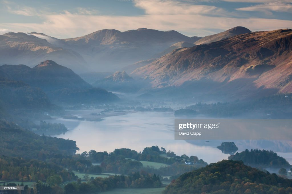 Keswick and Derwent Water, Lake District, England : Stock Photo
