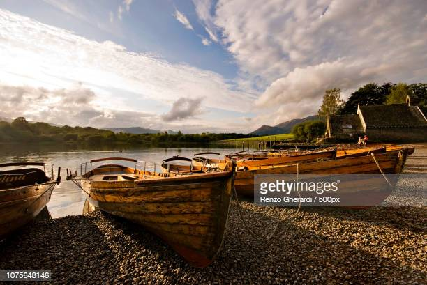 keswick - derwent water boats - renzo gherardi stock photos and pictures