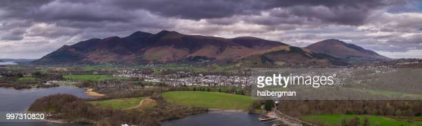 keswick, england - aerial panorama - keswick stock photos and pictures