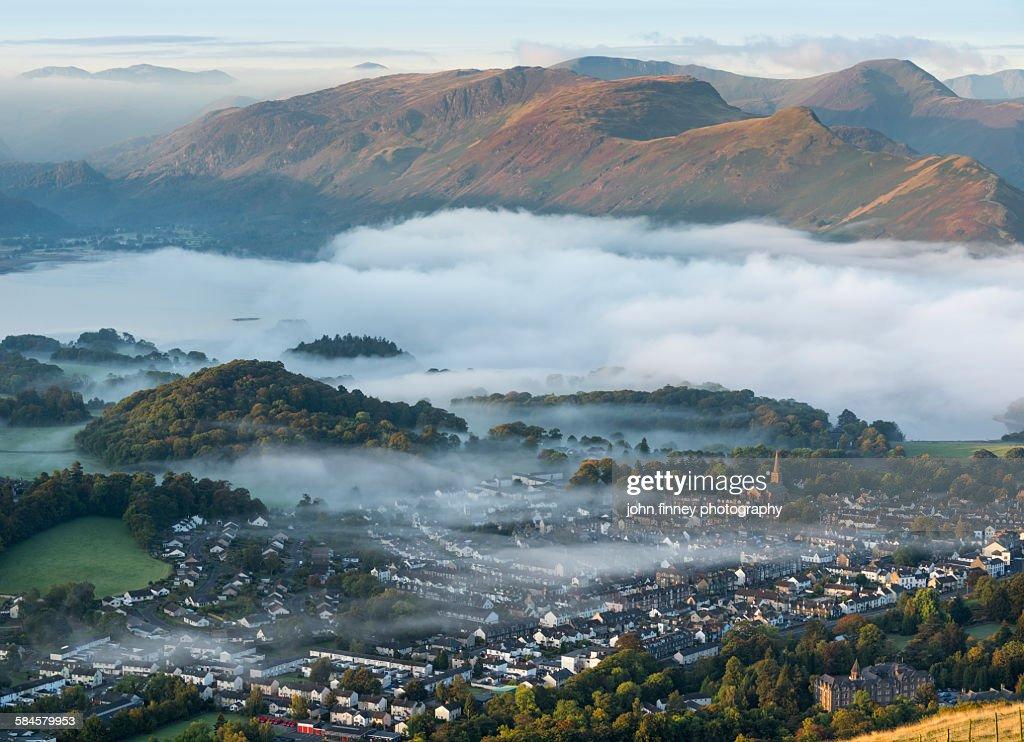 Keswick town, Lake District National park. UK : Stock Photo