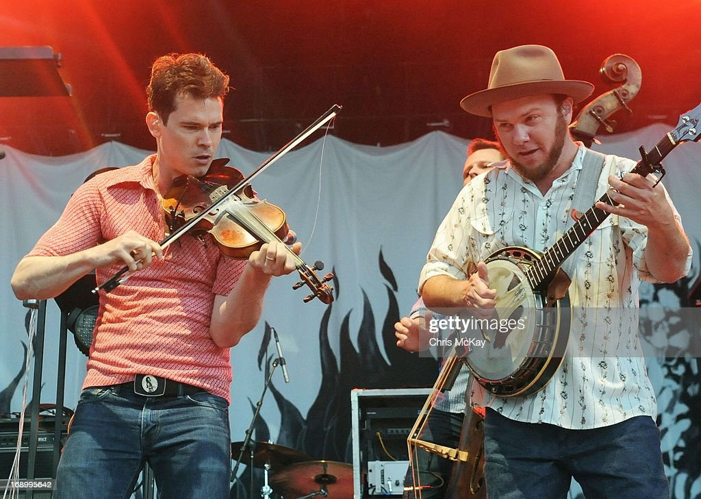 Ketch Secor and Critter Fuqua of Old Crow Medicine Show perform at Verizon Wireless Amphitheater on May 17, 2013 in Alpharetta, Georgia.