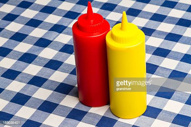 ketchup and mustard bottles - mustard stock pictures, royalty-free photos & images