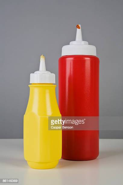 Ketchup and mustard bottles