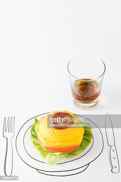 ketchup and plastic hamburger on drawing of plate, glass of whisky nearby - pencil drawing stock pictures, royalty-free photos & images