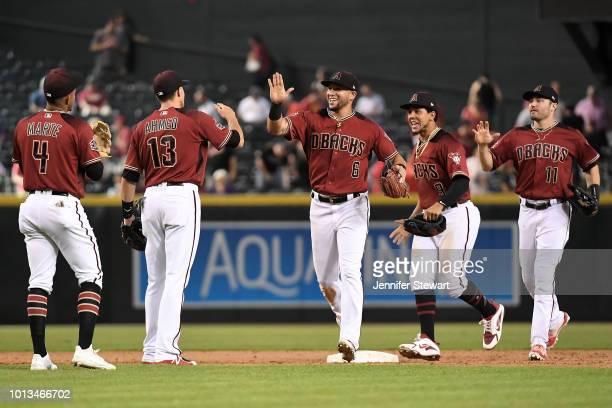Ketel Marte Nick Ahmed David Peralta Jon Jay and AJ Pollock of the Arizona Diamondbacks celebrate after closing out the MLB game against the...