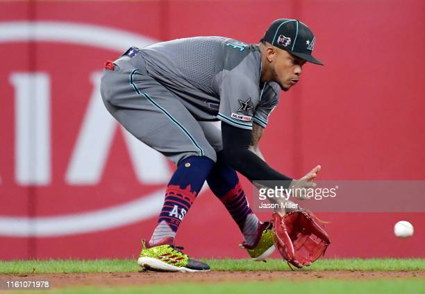 Ketel Marte of the Arizona Diamondbacks and the National League fields a ball against the American League during the 2019 MLB AllStar Game presented...