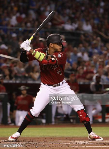 Ketel Marte of the Arizona Diamondbacks bats against the Chicago Cubs during the MLB game at Chase Field on April 28 2019 in Phoenix Arizona The Cubs...