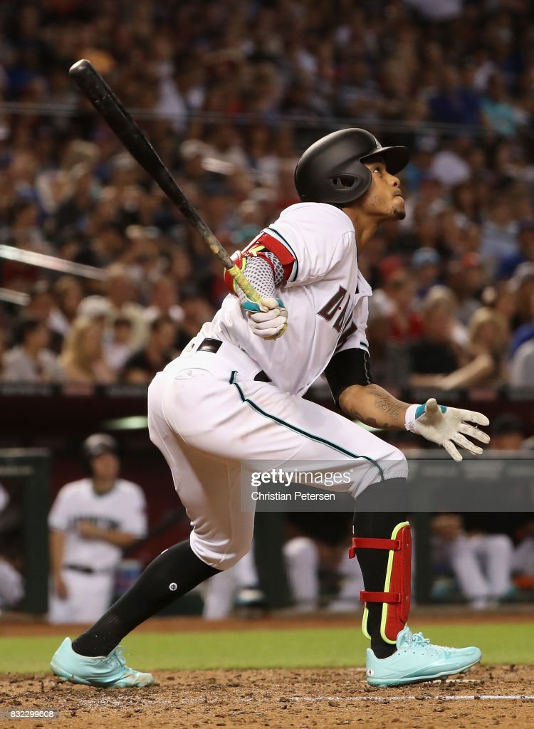 Ketel Marte #4 of the Arizona Diamondbacks bats against the Chicago Cubs during the MLB game at Chase Field on August 11, 2017 in Phoenix, Arizona. The Cubs defeated the Diamondbacks 8-3.