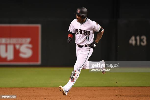 Ketel Marte of the Arizona Diamondbacks celebrates a solo home run in the fifth inning of the MLB game against the Miami Marlins at Chase Field on...