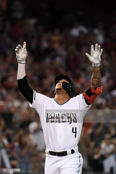 Ketel Marte of the Arizona Diamondbacks celebrates a two run home run in the first inning of the MLB game against the San Francisco Giants at Chase...