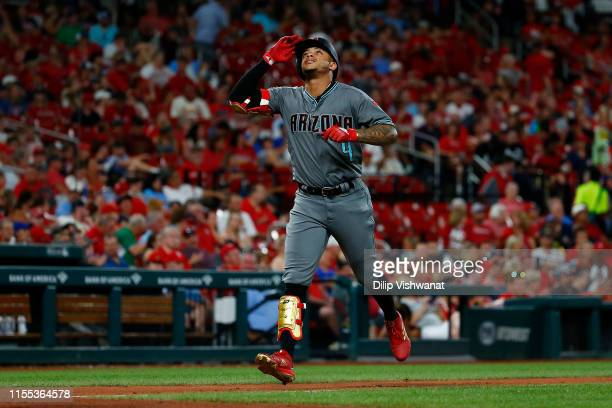 Ketel Marte of the Arizona Diamondbacks celebrates after hitting a home run against the St Louis Cardinals in the eighth inning at Busch Stadium on...