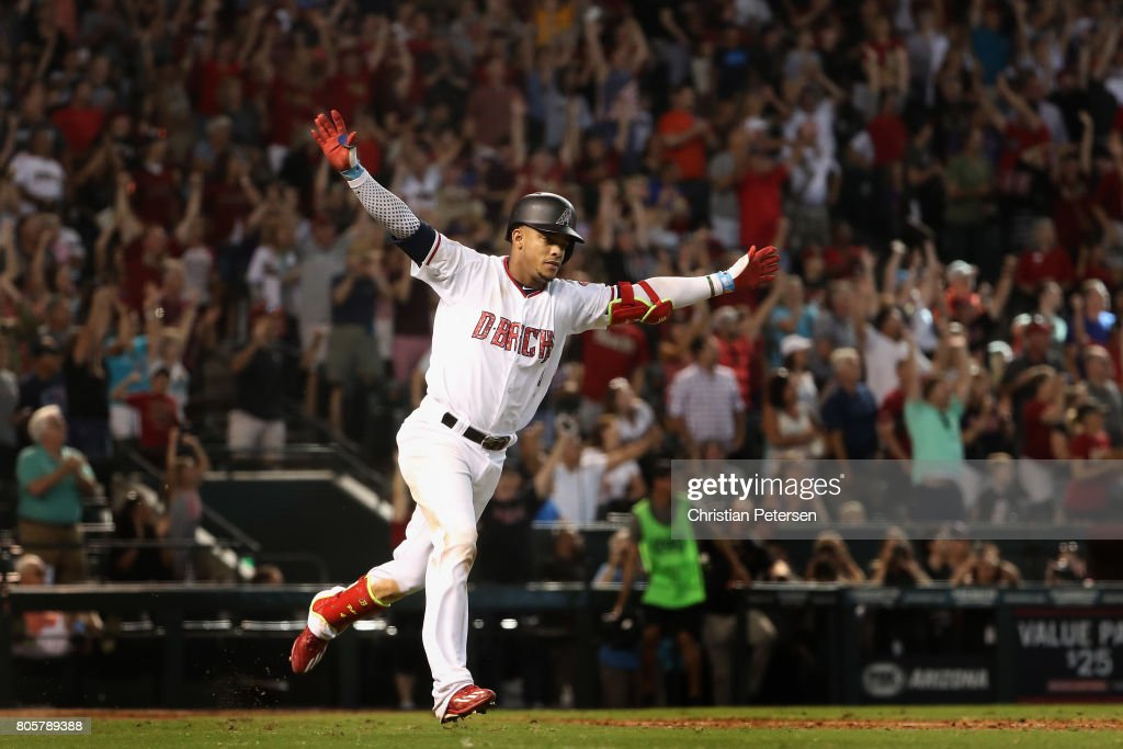 Ketel Marte #4 of the Arizona Diamondbacks celebrates after hitting the game winning RBI single against the Colorado Rockies during the ninth inning of the MLB game at Chase Field on July 2, 2017 in Phoenix, Arizona.