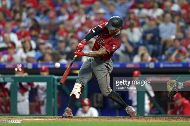 Ketel Marte of the Arizona Diamondbacks doubles in the sixth inning during a game against the Philadelphia Phillies at Citizens Bank Park on June 12...