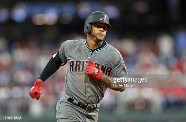 Ketel Marte of the Arizona Diamondbacks hits a solo home run in the seventh inning during a game against the Philadelphia Phillies at Citizens Bank...