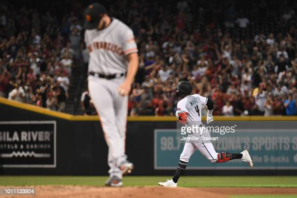 Ketel Marte of the Arizona Diamondbacks hits a two run home run off Andrew Suarez of the San Francisco Giants in the first inning of the MLB game at...