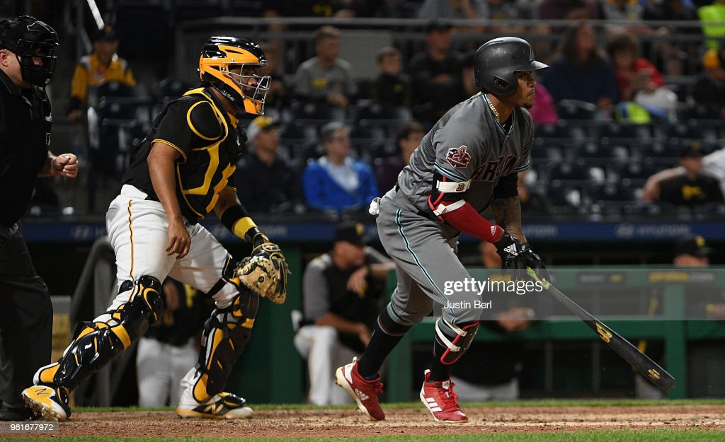 Ketel Marte #4 of the Arizona Diamondbacks hits an RBI single to center field in the thirteenth inning during the game against the Pittsburgh Pirates at PNC Park on June 22, 2018 in Pittsburgh, Pennsylvania.