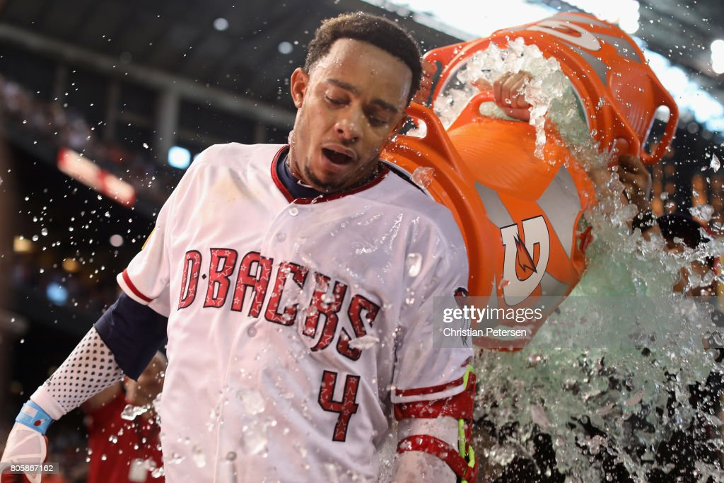 Ketel Marte #4 of the Arizona Diamondbacks is dunked with gatorade after hitting the game winning RBI single against the Colorado Rockies during the ninth inning of the MLB game at Chase Field on July 2, 2017 in Phoenix, Arizona. The Diamondbacks defeated the Rockies 4-3.