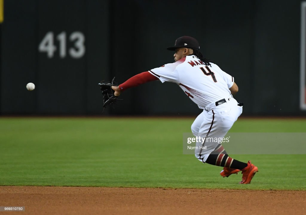 Ketel Marte #4 of the Arizona Diamondbacks makes a play on a bouncing ball during the sixth inning against the Milwaukee Brewers at Chase Field on May 16, 2018 in Phoenix, Arizona. Brewers won 8-2.