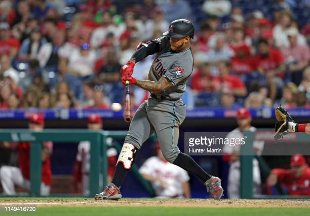 Ketel Marte of the Arizona Diamondbacks singles in the fifth inning during a game against the Philadelphia Phillies at Citizens Bank Park on June 11...
