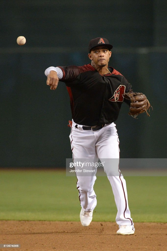 Ketel Marte #4 of the Arizona Diamondbacks throws the ball to make the out against the Cincinnati Reds in the third inning of the MLB game at Chase Field on July 8, 2017 in Phoenix, Arizona.