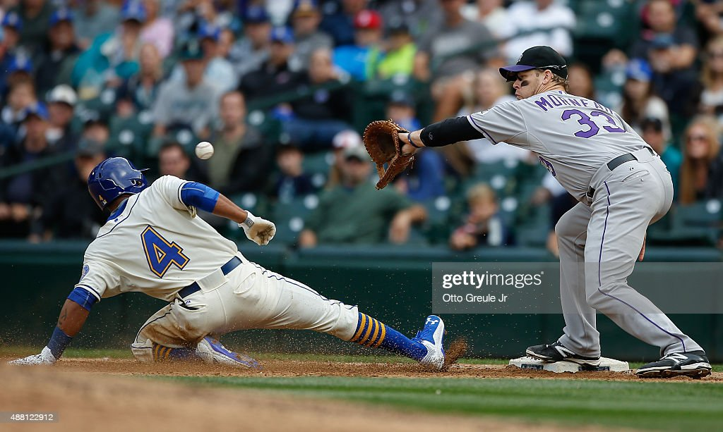 Ketel Marte #4 of the Seattle Mariners is doubled off of first by first baseman Justin Morneau #33 of the Colorado Rockies on a fly ball out off the bat of Kyle Seager in the eighth inning at Safeco Field on September 13, 2015 in Seattle, Washington. The Rockies defeated the Mariners 3-2.