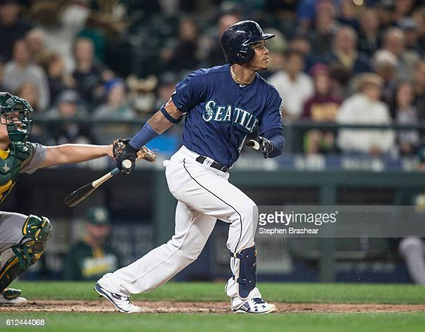 Ketel Marte of the Seattle Mariners takes a swing during an atbat in a game against the Oakland Athletics at Safeco Field on September 30 2016 in...