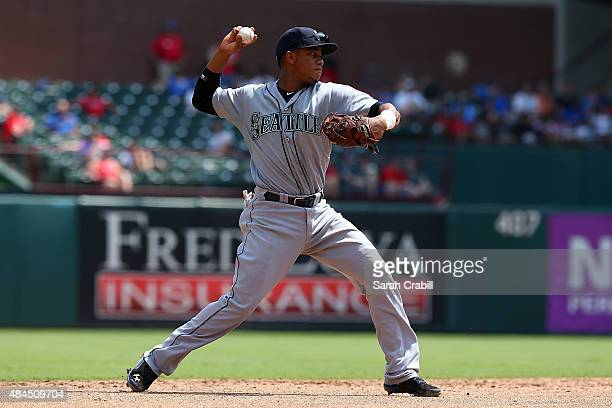 Ketel Marte of the Seattle Mariners throws for an out at first base in the sixth inning during a game against the Texas Rangers at Globe Life Park in...