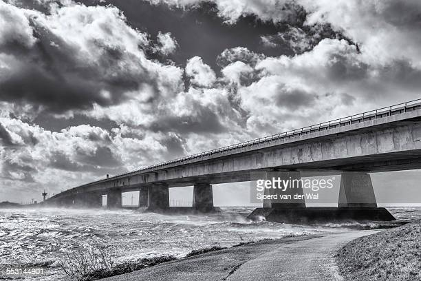 Ketelbrug in Flevoland, The Netherlands in a storm