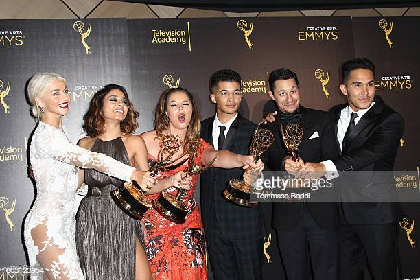 Kether Donohue Vanessa Hudgens Julianne Hough Jordan Fisher David Del Rio and Carlos Pena Jr pose in the press room at the 2016 Creative Arts Emmy...
