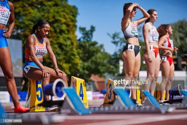 Ketia Seedo of Netherlands prepares in the Women's 100m Round 1 heats during European Athletics U20 Championships Day 1 at Kadriorg Stadium on July...