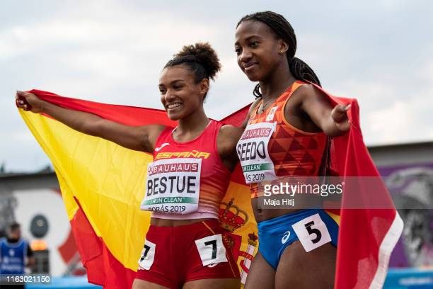 Ketia Seedo of the Netherlands and Jael Bestue of Spain celebrate second and third place the 100m Women Final on July 19, 2019 in Boras, Sweden.