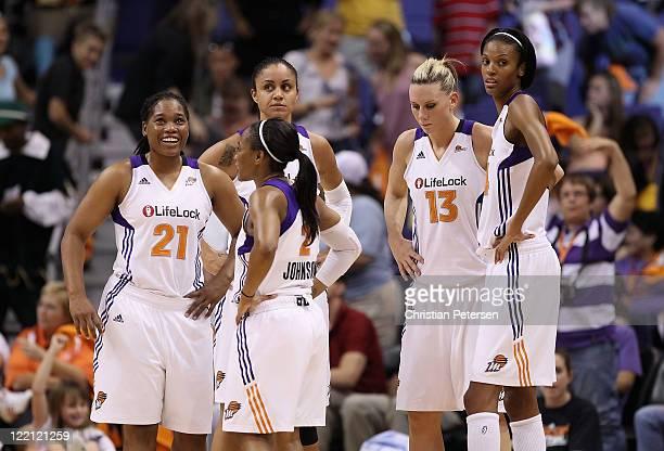 Ketia Swanier Temeka Johnson Candice Dupree Penny Taylor and DeWanna Bonner of the Phoenix Mercury during the WNBA game against the New York Liberty...