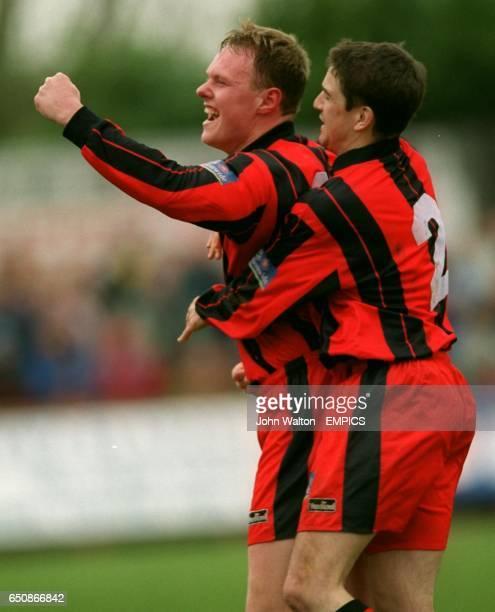 Kettering Town's Gary Setchell celebrates scoring with teammate Ian Ridgway