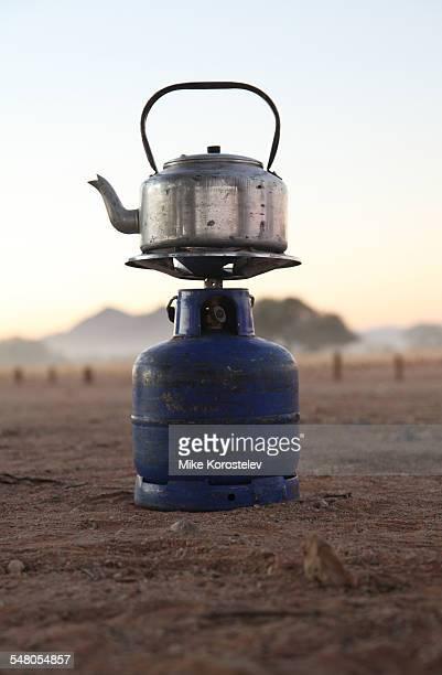 Kettle on a gas burner