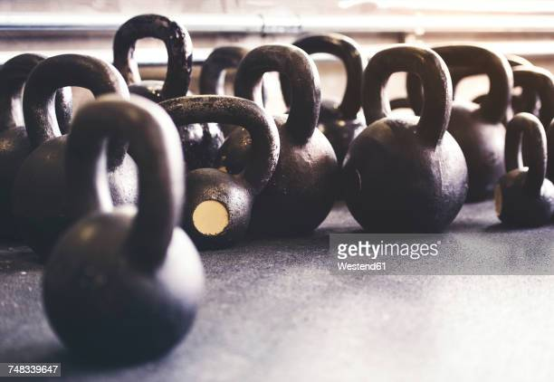 Kettlebells on floor in gym