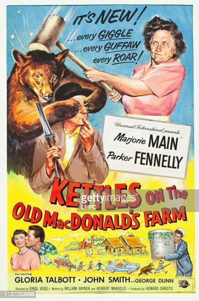 Kettles On The Old Macdonald's Farm poster top lr Parker Fennelly Marjorie Main bottom lr Gloria Talbott John Smith George Dunn on poster art 1957