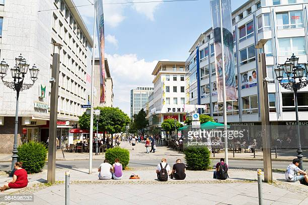 kettwiger straße in essen seen from theaterplatz - essen germany stock pictures, royalty-free photos & images