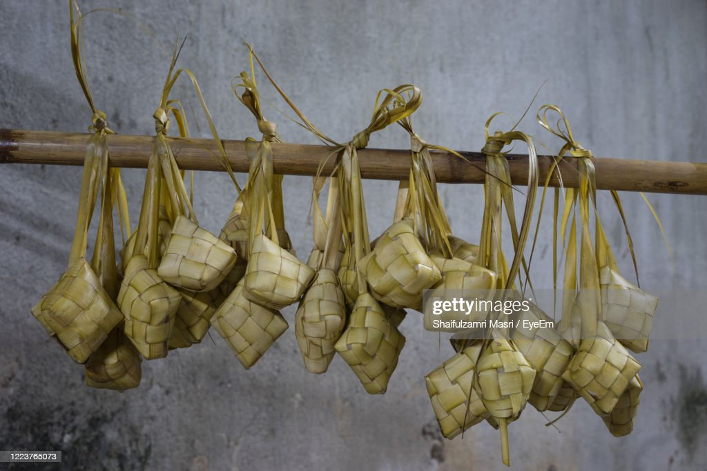 Ketupat Is A Natural Rice Casing Made From Young Coconut Leaves For Cooking Rice. : Stock Photo
