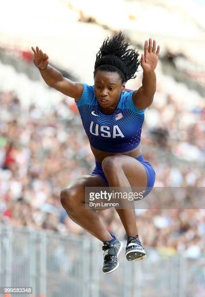 Keturah Orji of the USA competes in the Women's Triple Jump during day two of the Athletics World Cup London at the London Stadium on July 15 2018 in...