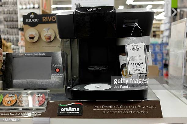 Keurig coffee maker is seen for sale on a store shelf on March 5, 2015 in Miami, Florida. John Sylvan the inventor of the popular Keurig K-Cups is...