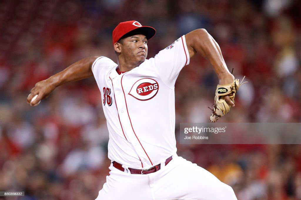 Keury Mella #36 of the Cincinnati Reds pitches in the fifth inning of a game against the St. Louis Cardinals at Great American Ball Park on September 20, 2017 in Cincinnati, Ohio. The Cardinals won 9-2.