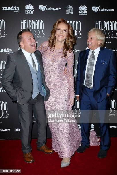 Kev Orkian Rhonda Burchmore and Frazer Hines arrive at the 18th Annual Helpmann Awards at Capitol Theatre on July 16 2018 in Sydney Australia