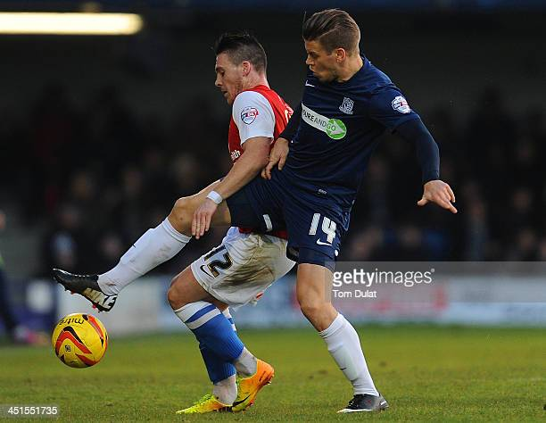 Kevan Hurst of Southend United and Josh Carson of York City battle for the ball during the Sky Bet League Two match between Southend United and York...
